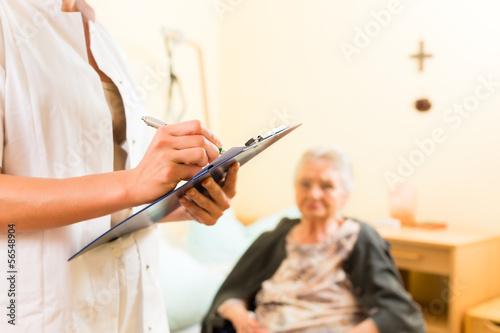 Cuadros en Lienzo Young nurse and female senior in nursing home