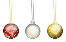 Weihnachtskugeln Set Rot Silber Gold