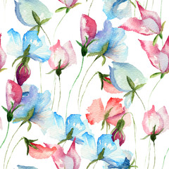 Obraz na SzkleSeamless wallpaper with Sweet pea flowers