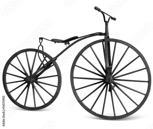 Türaufkleber Fahrrad old bicycle with wooden wheels isolate with clipping path