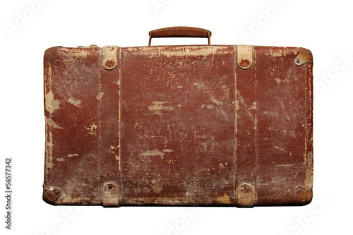 Fotografiet old vintage suitcase isolated on white background