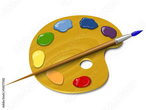Wooden palette with a brush Fototapet