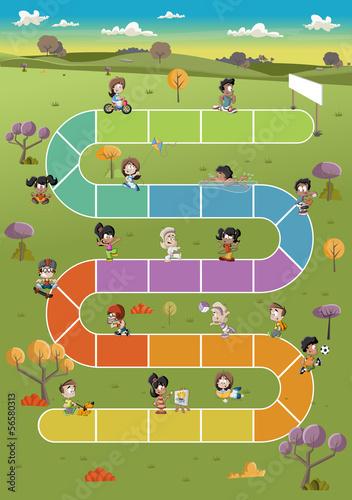 gra-planszowa-z-szczesliwymi-kreskowek-dziecmi-bawic-sie-w-parku