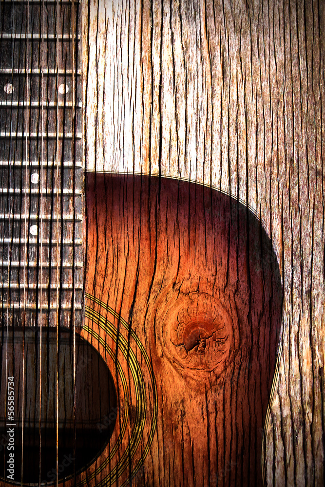 Fototapeta Acoustic guitar art on wooden background