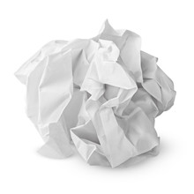 Crumpled Paper Ball Isolated O...