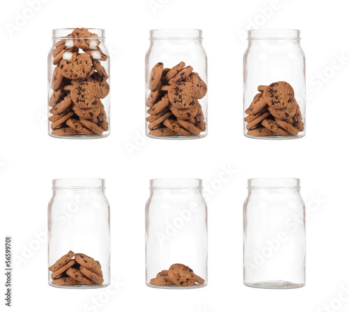 Photo Sequence of jar of cookies from full to empty isolated on white