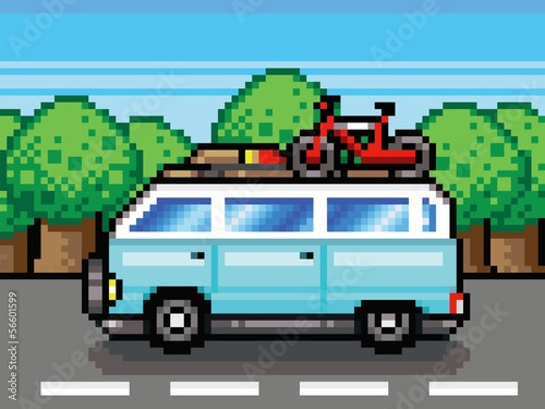 Photo sur Toile Pixel family road trip summer holidays pixel-art style vector