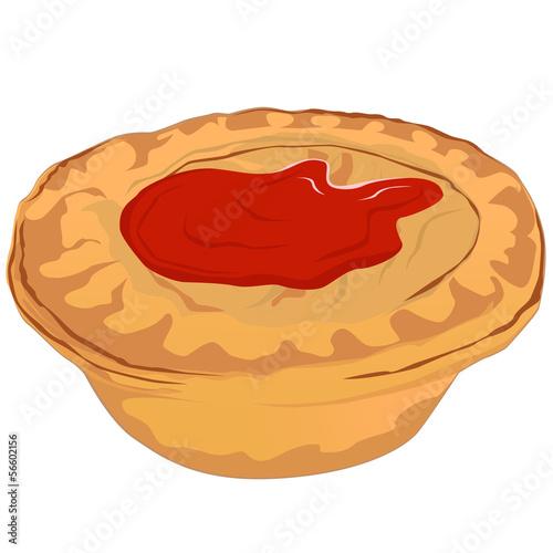Fotografie, Obraz  Meat Pie with Tomato Sauce