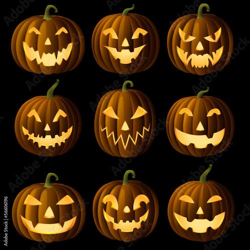 Fotografie, Obraz Set of Jack O Lanterns