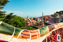The Famous Summer Park Guell Over Bright Blue Sky In Barcelona