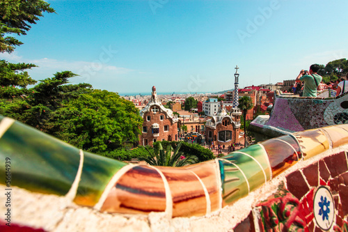 In de dag Barcelona The Famous Summer Park Guell over bright blue sky in Barcelona