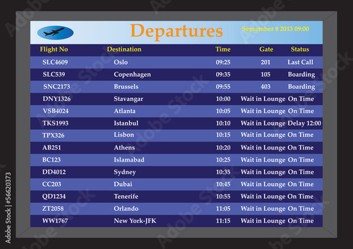 Photo An Airport Departures monitor showing flight times