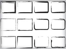 Set Of Grunge Frames. Vector Illustration.