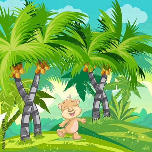 ilustracja-dla-dzieci-z-szczesliwym-misiem-w-dzungli