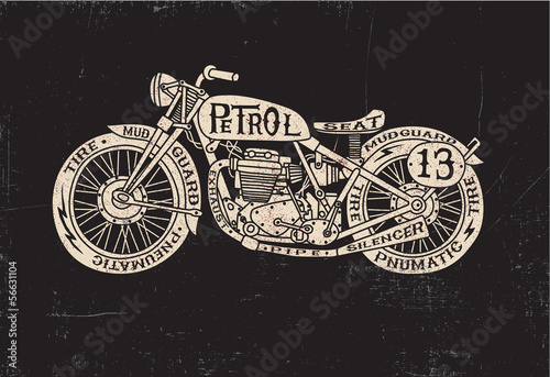 Photo  Text Filled Vintage Motorcycle