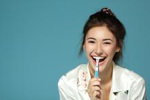 Happy Funny Teen Girl Brush He...