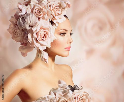 Cuadros en Lienzo Fashion Beauty Model Girl with Flowers Hair. Bride