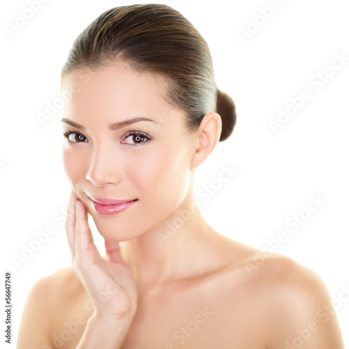 Asian beauty skincare woman touching skin on face Poster