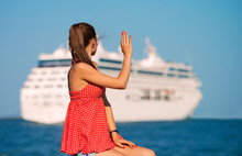 Girl Looking At The Ship And Waving Her Hand, View From The Back