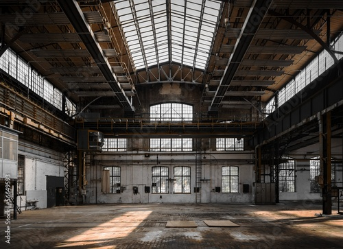 Obraz Industrial interior of an old factory - fototapety do salonu