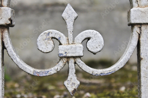 Photo  Wrought Iron Fleur-de-Lis in Pere-Lachaise Cemetery, Paris