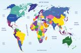 mapa świata geograficznego i politycznego wektor - 56652972