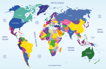Fototapeta vector world geographical and political map