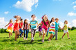 Leinwandbild Motiv Kids running enjoying summer