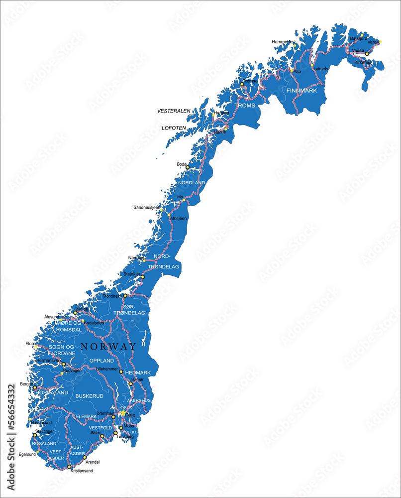 Fotografie, Obraz  Norway map