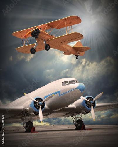 obraz-w-stylu-retro-samolotu-transport