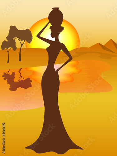silhouette-of-african-girl-with-a-pitcher-goes-to-fetch-water