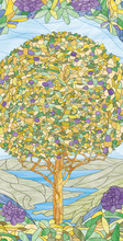 Stained Glass Window Tree Of Life, Paradise Tree