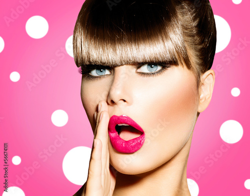 Naklejka Surprised Woman with open Mouth. Pin up Girl