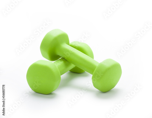 Fotografia  small green dumbbells,  isolated in white background