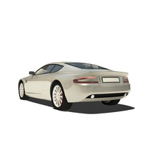 Silver Super Car Isolated On White