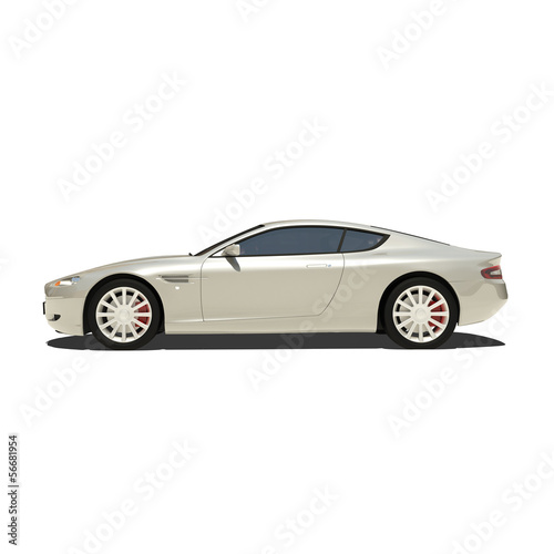 Photo  Silver Super Car Isolated on White