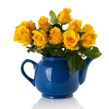 Bouquet Yellow Roses In Blue Pot