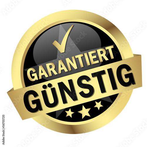 """Fotografía  Button mit Banner """" GARANTIERT GÜNSTIG """""""