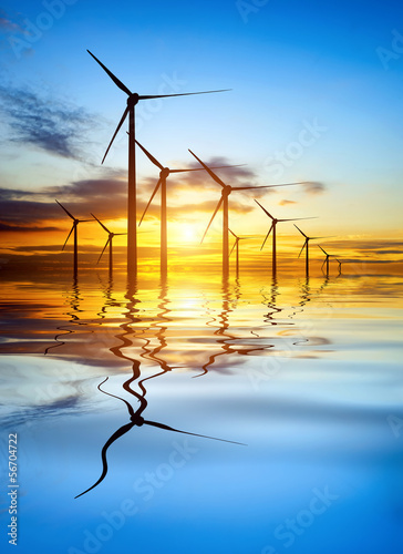 Photo sur Toile Moulins Wind Power at Sunset