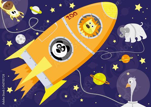 zwierzeta-w-kosmosie-ilustracji-wektorowych