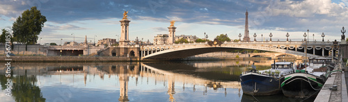 Poster Parijs Pont Alexandre III and Eiffel Tower, Paris