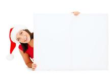 Woman In Santa Helper Hat With Blank White Board