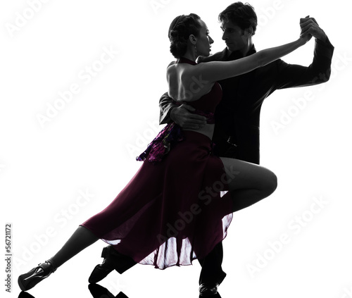 couple man woman ballroom dancers tangoing  silhouette Canvas Print