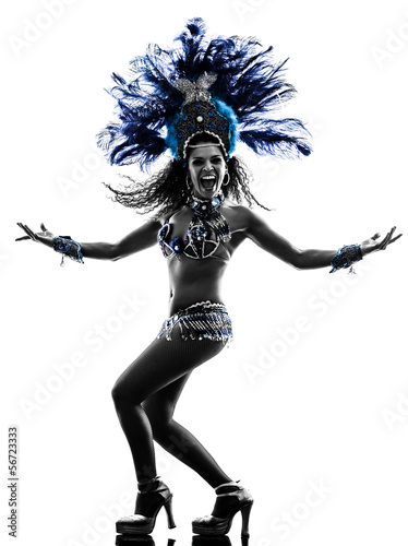 Photo sur Toile Carnaval woman samba dancer silhouette