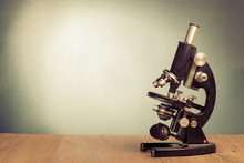 Vintage Microscope On Table Fo...