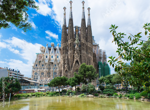 Photo  view of Sagrada Familia in Barcelona. Spain