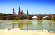 antique bridge over Ebro river in Zaragoza