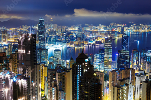 Hong Kong city over mid night Slika na platnu