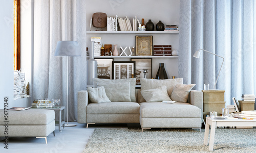 Photographie  Wohnzimmer in Wohnung - Small living room
