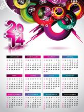 Vector Calendar 2014 Illustration On A Color Background.